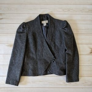 Vintage Structured Asymmetrical Wool Blazer